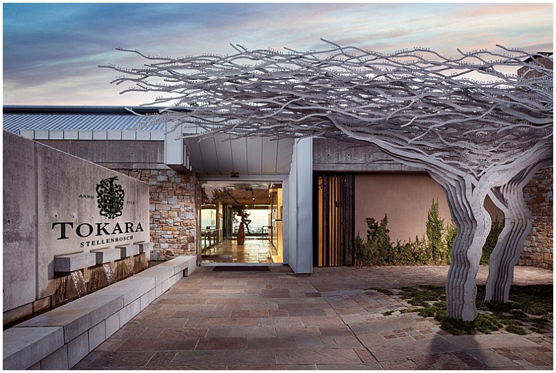 Tokara wine estate entrance tree sculptures
