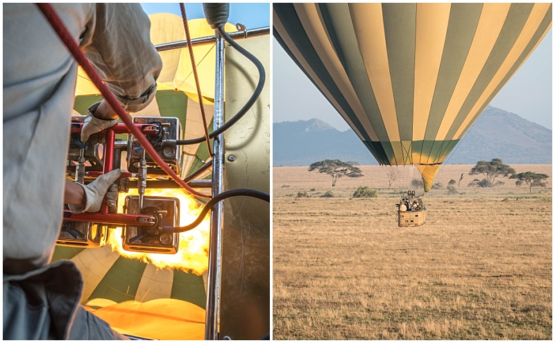 firing up the hot air balloon to travel across African plains