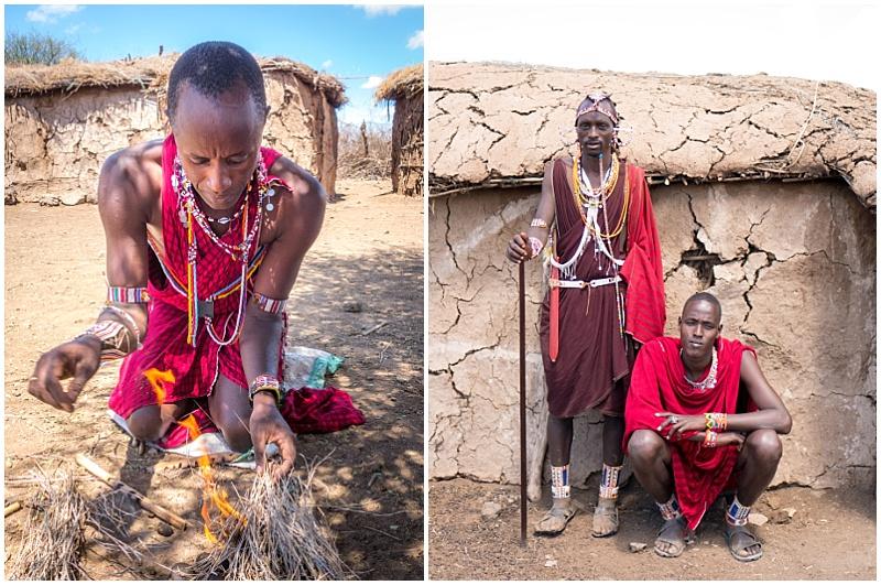 Maasai men in traditional dress