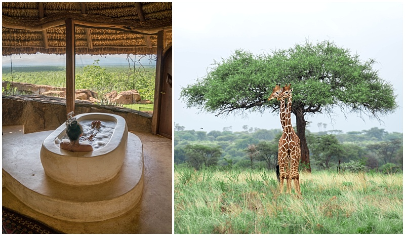 Elsa's Kopje luxury bathtub and giraffe