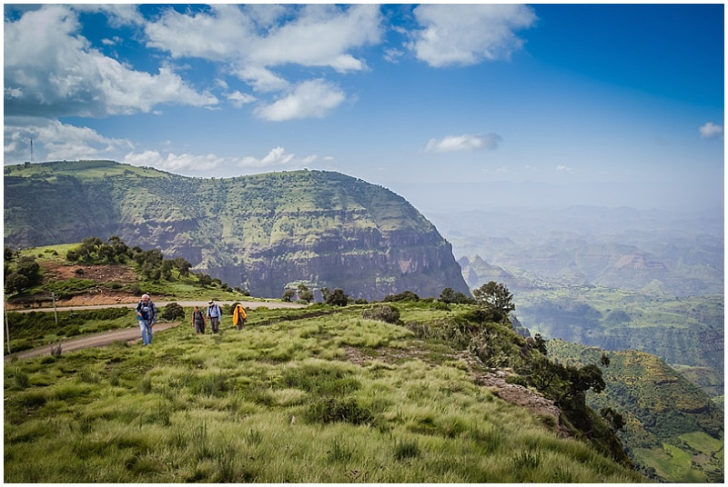 people hiking simien mountains